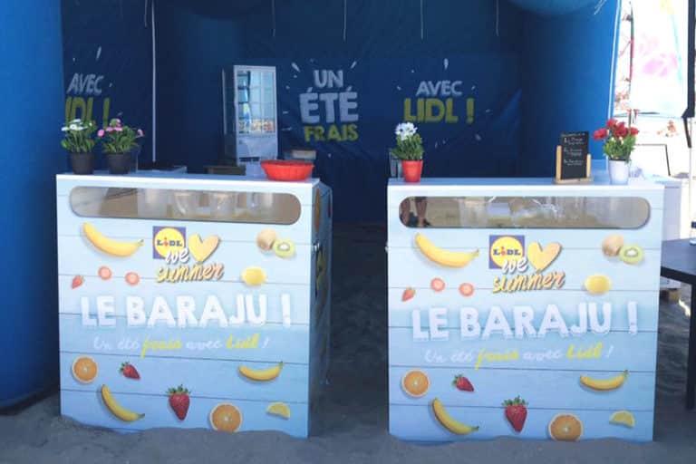 mobilier bar à jus pour road show